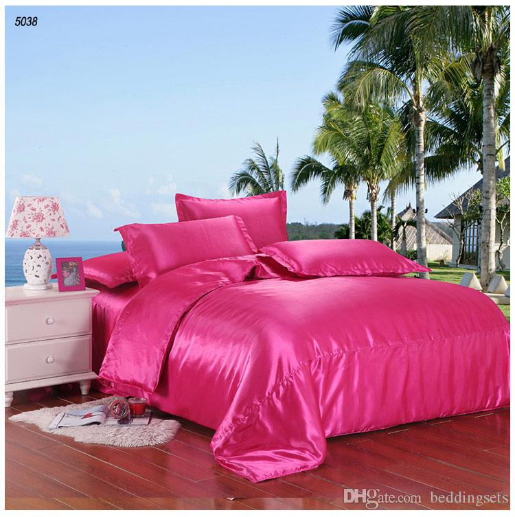 Rose Red Silk Linens 2 Sides Silk Bedding Set Satin Silk Bed Sheet Pillow  Cases Quilt/Comforter/Duvet Cover Wedding Bed Covers 5038 Bedding Duvets  Cheap ...