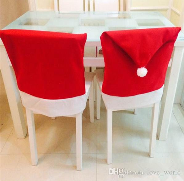 Christmas Xmas Decorations Hat Chair Covers Dinner Chair Cap Sets Home Party Holiday Christmas Santa Claus Clause Chair Cap EMS fast ship