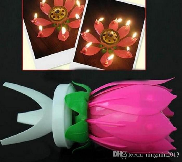 Lotus Flower Music Candle Beautiful Blossom Lotus Flower Candle Birthday Party Cake Music Sparkle Cake Topper Rotating Candle