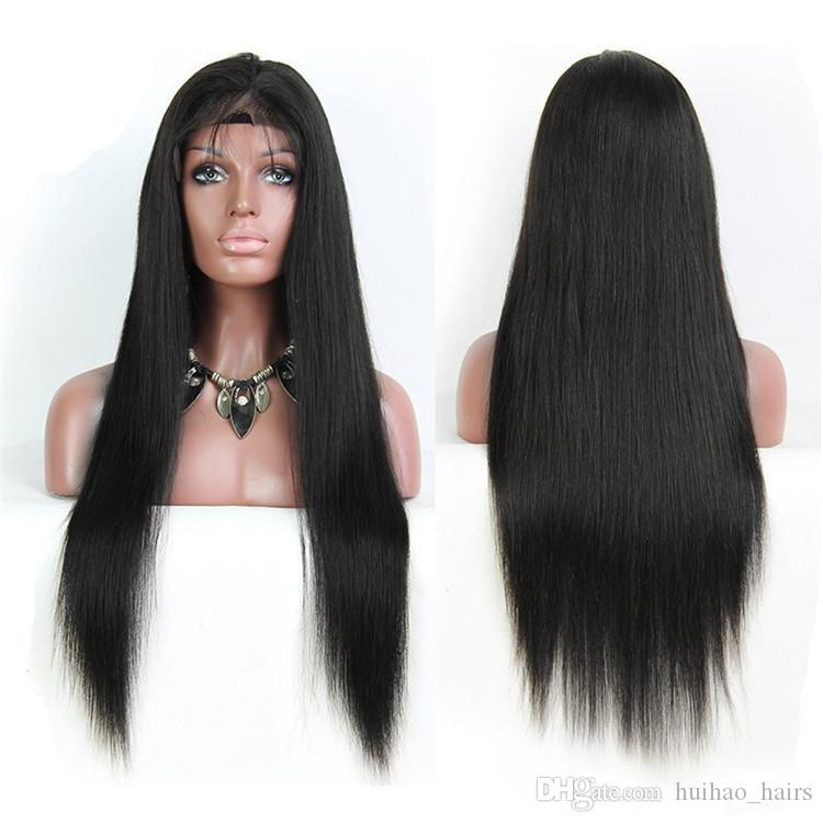 Unprocessed Front Lace Wig Straight Long Human Hair 8-28inch Natural Black Color with Baby Hair Bangs Factory Dirct Supply