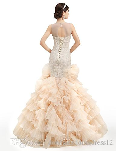 2016 New Hot Sale Fashion Trumpet/Mermaid Charming Champagne Court Train Appliques -Jewel Organza Wedding Dresses 223