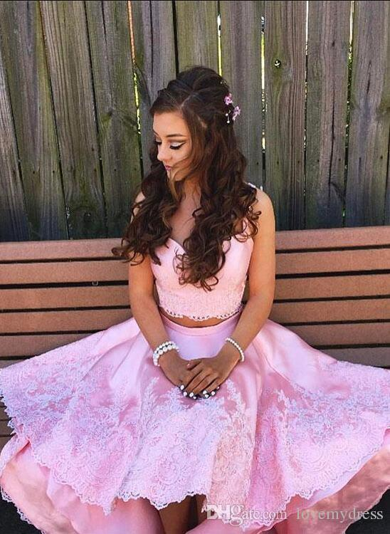 Magic Pink High Low 2018 Homecoming Cocktail Dresses Cheap Applique Lace Beaded With Straps Short Prom Party Dress Gowns Girls