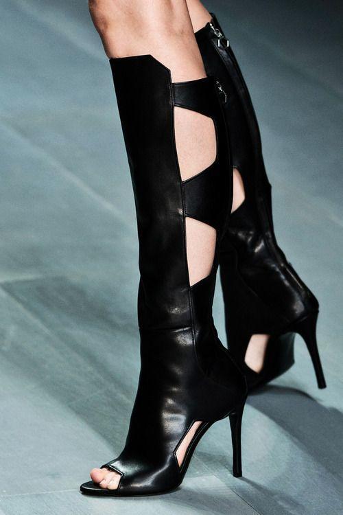 дизайнер 2018 новая мода сапоги peep toes вырезы высокие каблуки колено сапоги весна и осень тонкий каблук женская обувь длинные сапоги большой размер 45