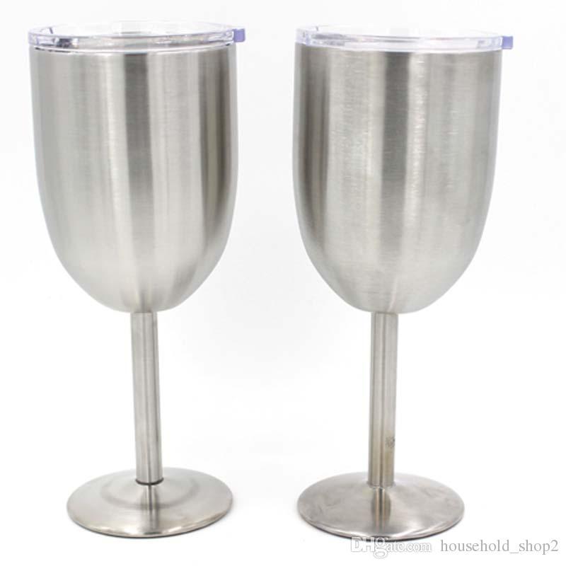Gümüş 10oz Şarap kapağı kaplmalı çift katman Paslanmaz Çelik Şarap fincan Bira kahve Şarap cam gözlük
