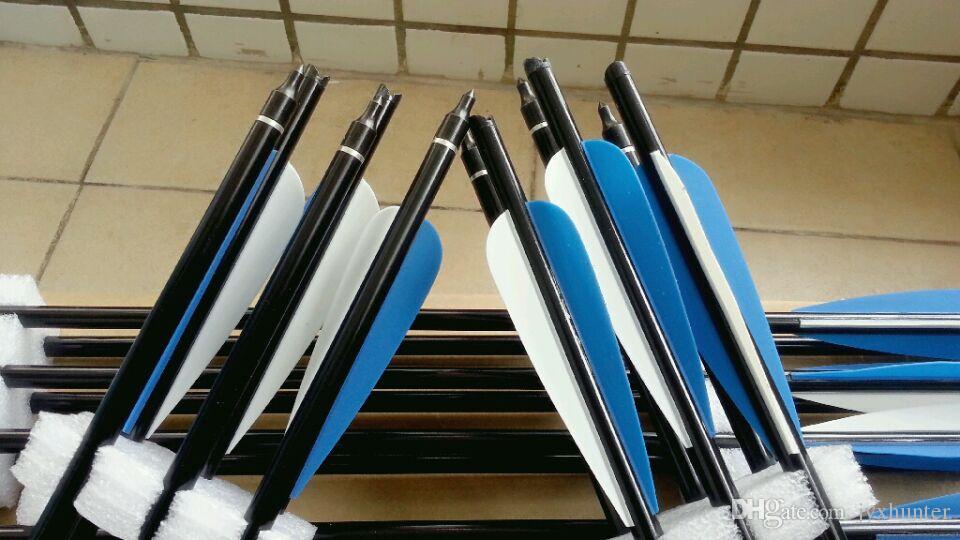 12 peças de alta qualidade besta parafusos 22 polegadas flechas de alumínio para besta caça com 4