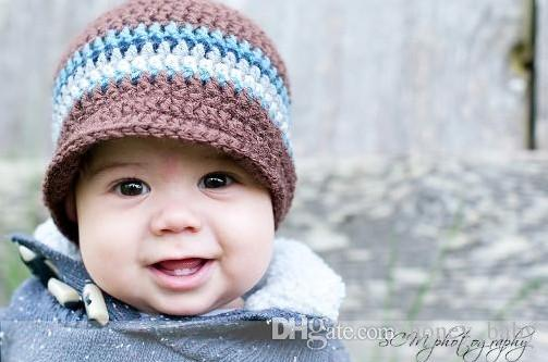 Newsboy Striped Hat Baby Kids Infant Toddler Girls Boys Newborn Winter Children Beanie Crochet Knitted Skull Caps 100% Cotton Photo Props