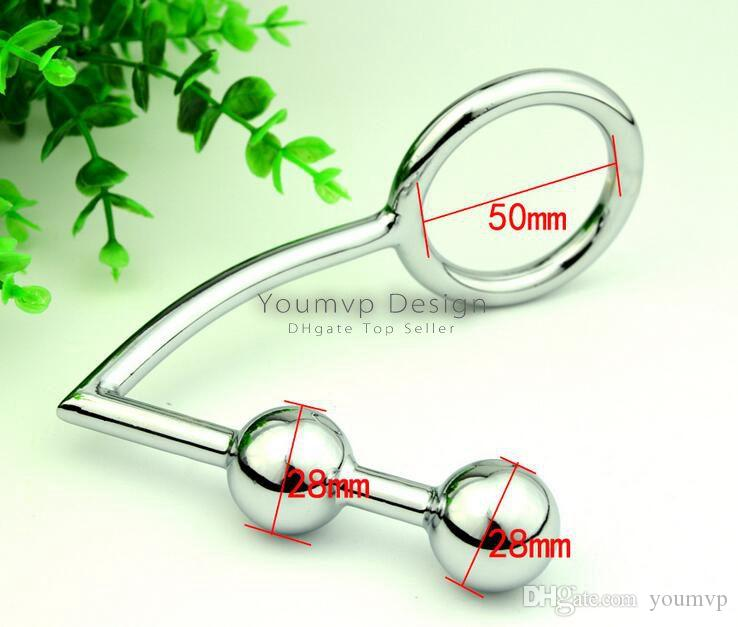 Double Ball Anal Hook Anal Plug Butt hook with ring Chastity Device 40MM/45MM/50MM JJD1916