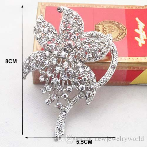 Rhodium Plated Vintage Fashionable Wedding Brooch Czech Stone Crystals Rhinestone Flower Women Bouquet Broach Pin Lady Corsage