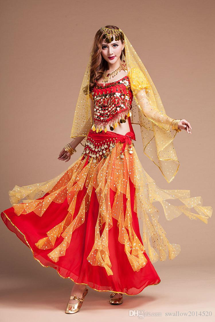 Hot New Egyptian Belly Dance Costume Top&Skirt&Waist Chain&Veil Bracelet Necklace Set Women'S Dance Clothing Bellydance Costume