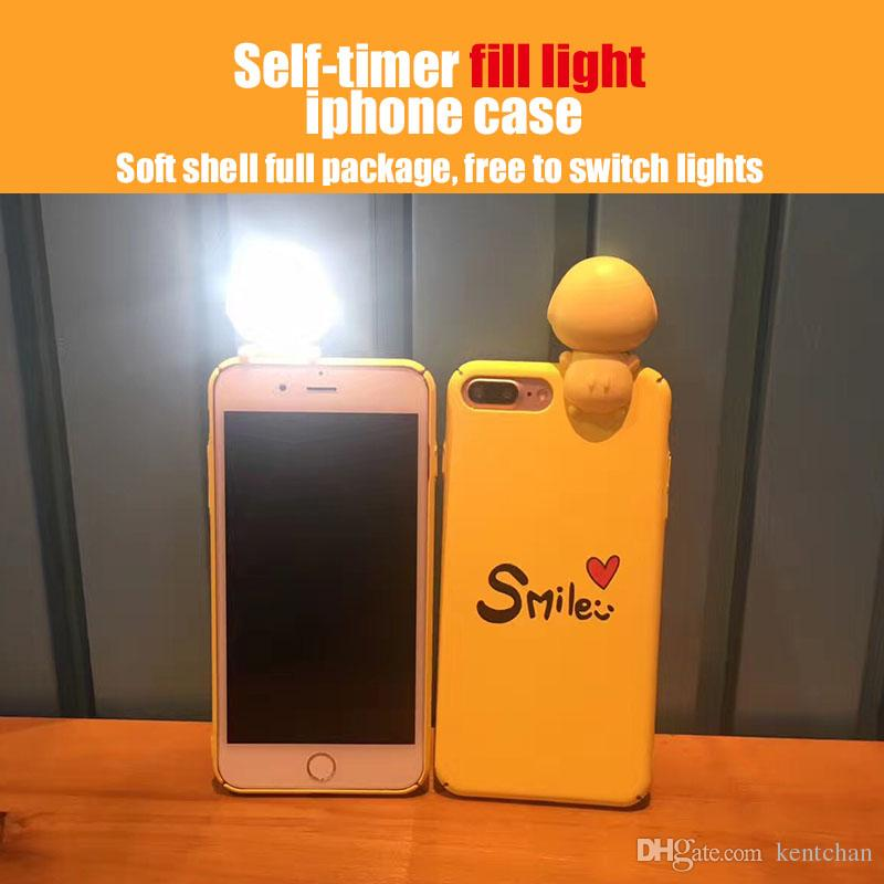 self timer fill led light for iphone x 8plus 7plys 8 7 selfie light phone case with retail package led light iphone case selfie online with 7 7 piece on
