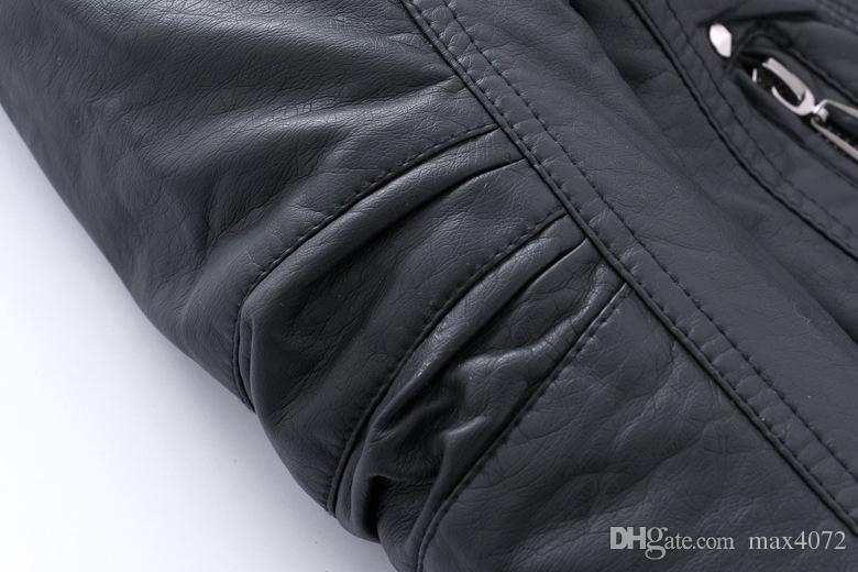 новый джентльмен зима мальчик кожаная куртка сплошной черный молния PU куртка пальто для 3-12yrs мальчиков infantil Детская верхняя одежда одежда горячая продажа