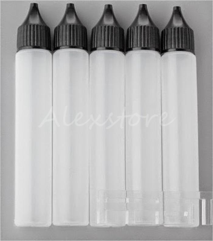30ml Boş Şişeler İnce Kalem Stil E-Sıvı Vape E Suyu Yağı Plastik PE Şişe Uzun İnce İpucu Damlalık Damlalık Şişe Beyaz Siyah Kapaklar
