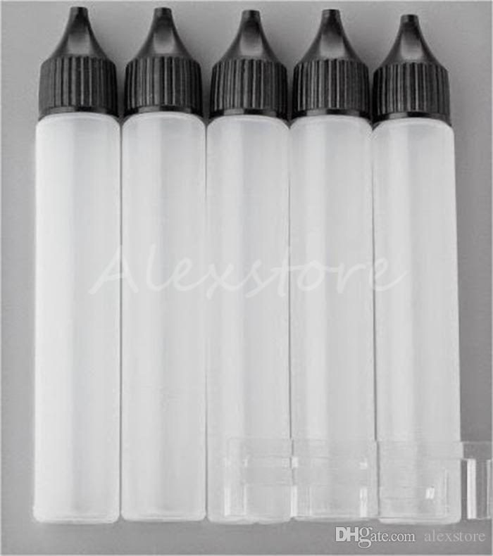 Unicorno Bottiglia vuota Bottiglia vuota 30ml PE Top Cap Dropper Pen Style Unicron E-Liquid E Succo dripper Bottiglia con lunghi tappi bianchi neri