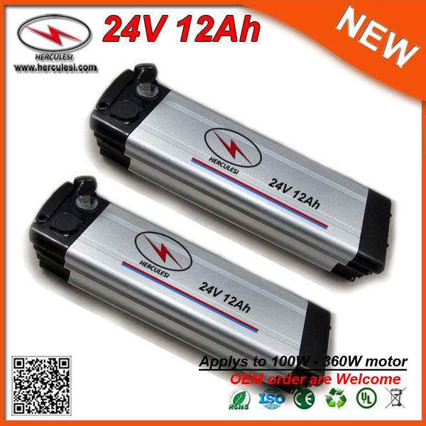 24V Ni-Mh Rechargeable Battery Pack 24V 12Ah Silver Fish Type Lithium Li Ion Battery for Electric Bike Giant Bicycle 360W