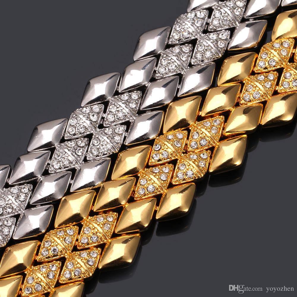 Grandes hombres pulseras 18 K oro amarillo plateado austriaco joyería de moda brazaletes de regalo para las mujeres al por mayor YH5142