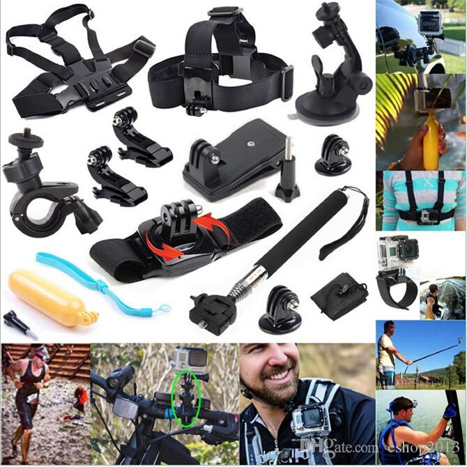 Set di accessori GoPro 12 in Go Pro Fascia da polso + Kit di estensione casco Mount + Supporto cintura toracica + Bobber Go-pro Hero