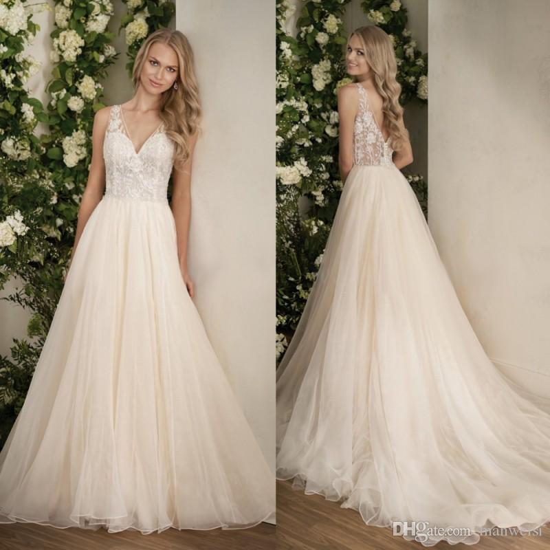 Discount Jasmine 2018 Boho Wedding Dresses Elegant Lace Appliqued Crystal V Neck Bridal Gowns Backless Garden Country Dress Romantic