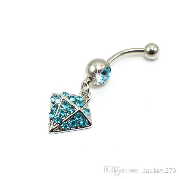 Acciaio Belly Bicchiere Bottone Anelli dell'ombelico Body Piercing Gioielli Ciondoli Accessori Moda Diamante Fascino Orecchini in fibbia ombelicale Unghie