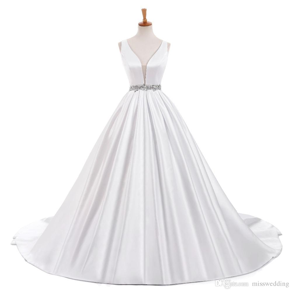 Discount Attractive V Neck Ivory Satin Wedding Bridal Dress Court ...