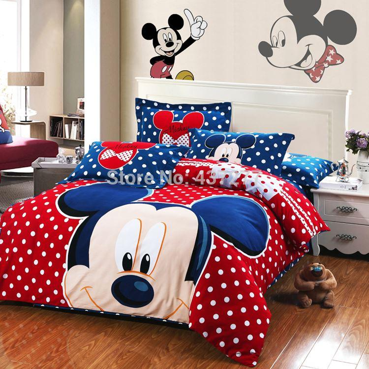 New Mickey Mouse Polka Dots Red Blue Bedding Set Warm Brushed Cotton ...
