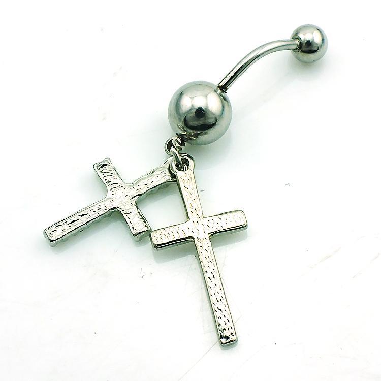 Marka Yeni Moda Belly Button Yüzükler Dangle Çift Çapraz 316L Paslanmaz Çelik Göbek Piercing Takı