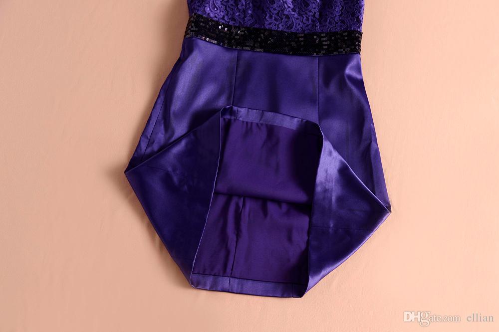 Vestido de encaje Patchwork Mujeres A-Line Vestido de lentejuelas 121581E