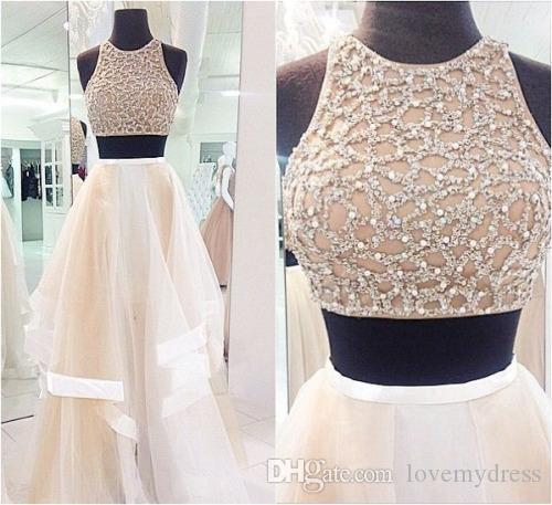 2019 Fashion Champagne Prom Dresses Two Pieces Real Image Organza Sequin Crystal Ruched Pageant Evening Formal Party Dresses Gown Custom