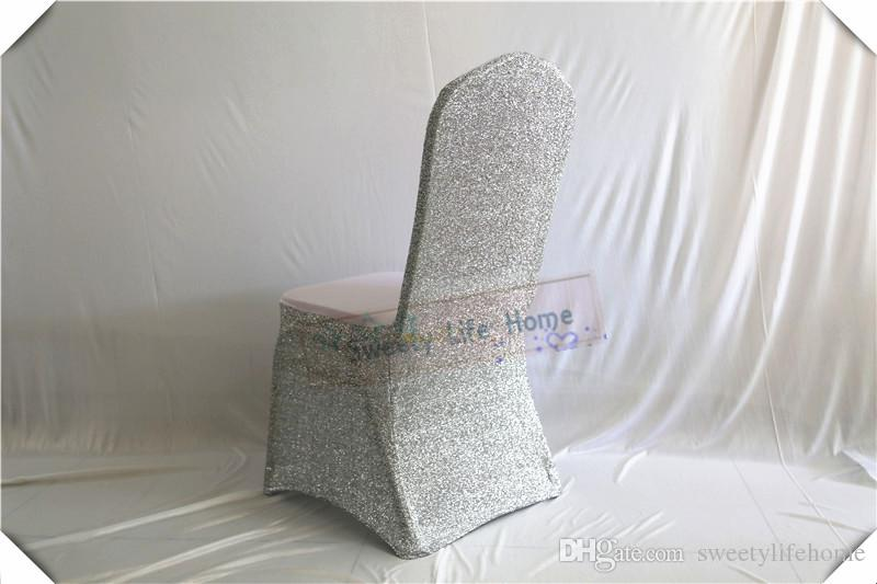 Colorful New desion white Banquet spandex chair covers with Silver Sequin fabric chair cover for wedding and party decorations