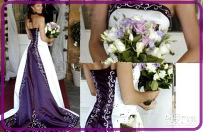 Hot Sale White and Purple Wedding Dresses Strapless Beads Rmbriodery Satin A-Line Court Train 2019 Bridal Gown Custom Made W675
