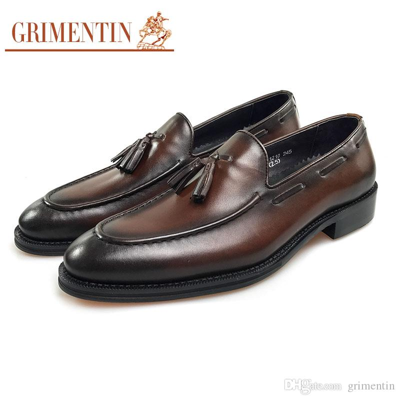 GRIMENTIN Luxury Brand Tassel Slip On Men Loafers Shoes High Quality Formal  Mens Dress Shoes Genuine Leather Wedding Business Male Shoes CG8 Dress Shoes  ... 8a578bf05