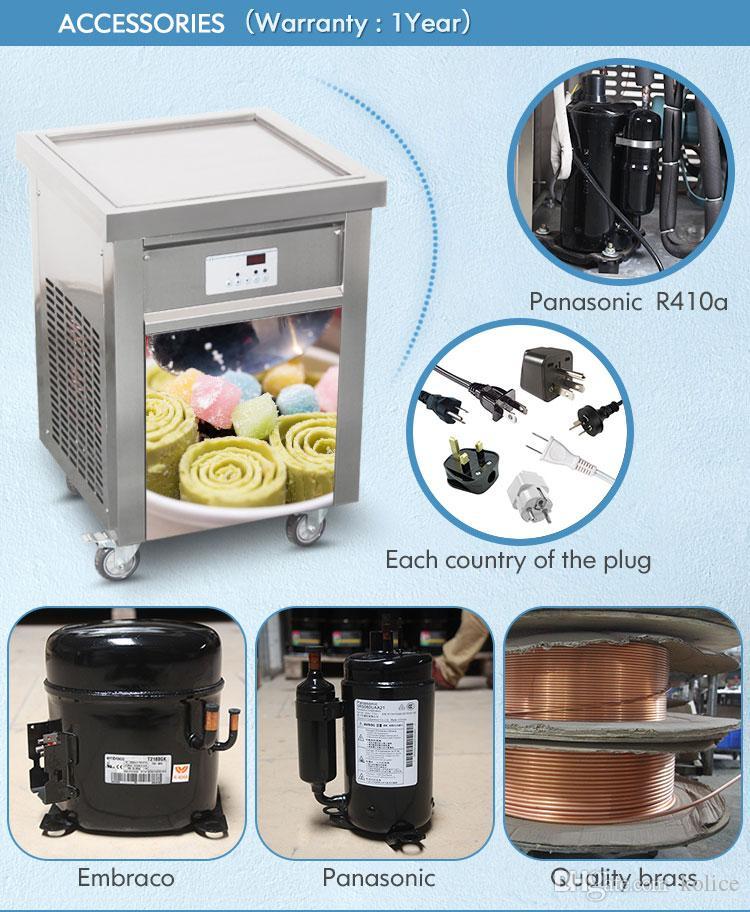 Free shipment to door USA EU CE ETL single 55cm square pan thai fried ice cream machine yogurt roll ice cream machine