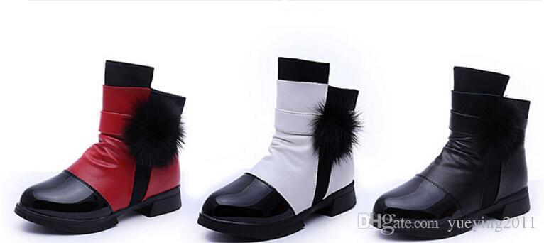 2018 bottes de neige pour femmes en cuir véritable, bottes pour enfants, bottes pour enfants, chaussures rembourrées en coton pour hommes, semelle souple pour bébé
