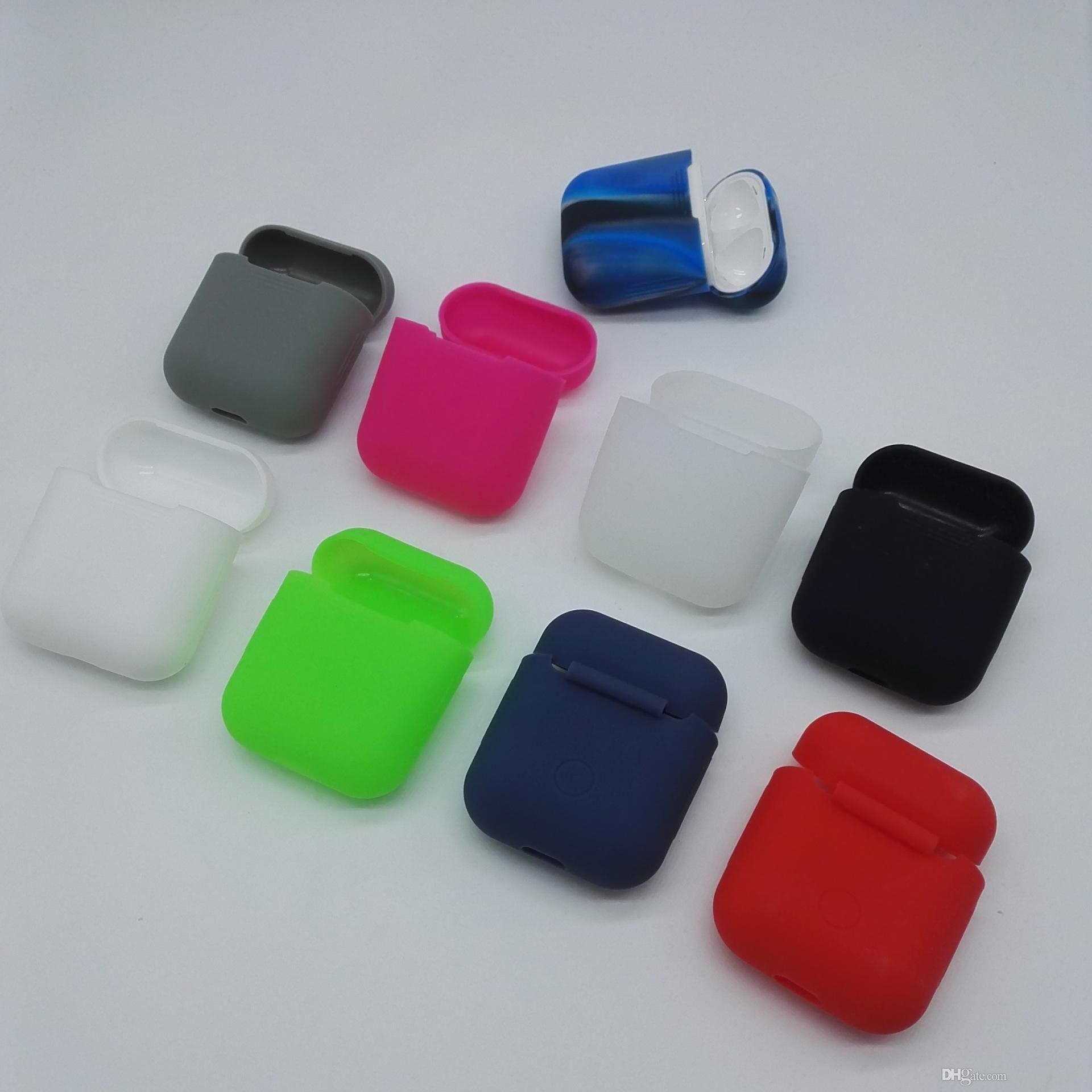ملون سيليكون حالة الغطاء الواقي ل Airpods فون iPhone 7 التوائم صحيح سماعة لاسلكية سيليكون Airpod حقيبة واقية القضية