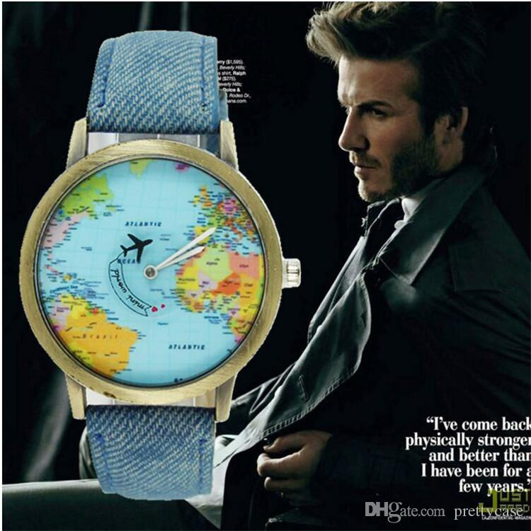 Luxury world map watch plane needle denim strap quartz wristwatches luxury world map watch plane needle denim strap quartz wristwatches men women unisex casual watch christms gift watches cheap watch cheap watches online gumiabroncs Gallery