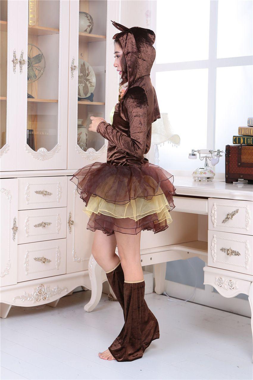 Талисман Рождественская королева принцесса юбка костюм cap производительность платье Хэллоуин оленей животных ролевые игры службы Рождественская вечеринка платье