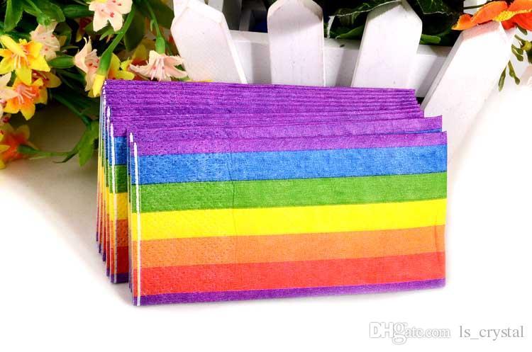 Renk Gökkuşağı Kağıt Peçete Doku 3 Katmanlar Katlanır Mendiller Havlu Düğün Parti Hediye Online Şekeri SD901