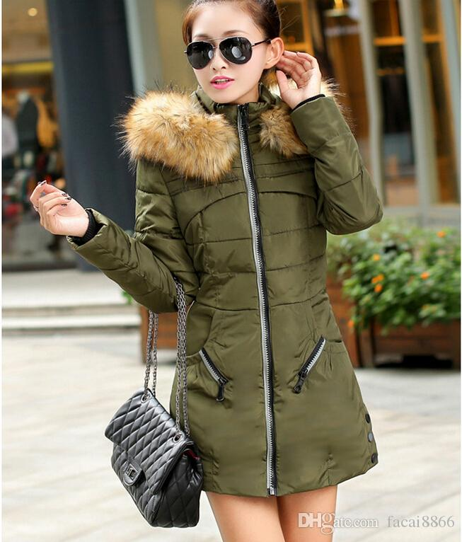 2018 2015 Korean Army Green Women Padded Winter Warm Fur Collar ...