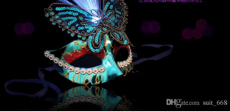 Venice half face mask dance princess makeup female party luminous butterfly mask feather fiber