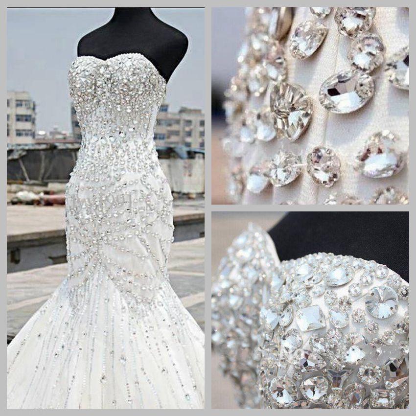 2019 popolari scintillanti strass cristalli abiti da sposa sirena senza spalline perline vendita calda abiti da sposa lunghi allacciati indietro su misura