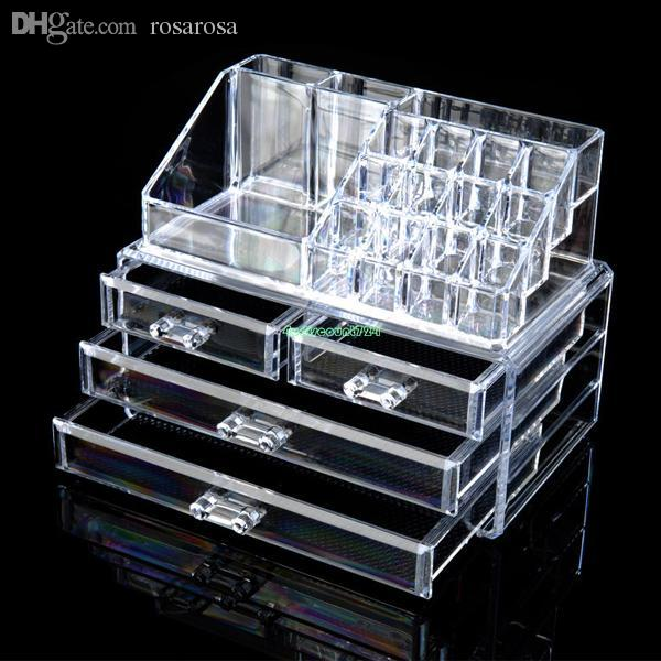 2018 Wholesale 4 Drawers Cosmetic Organizer Clear Acrylic Jewellery Box Makeup  Storage Case Eqc380 Acrylic Makeup Organizer From Rosarosa, $75.31 | Dhgate.