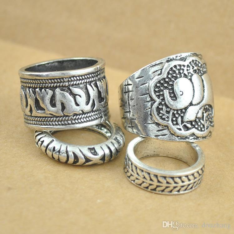 Gypsy Vintage Ring Set Carved Antique Elephant Totem Leaf Turkish Rings For Women Boho Jewelry Wholesale