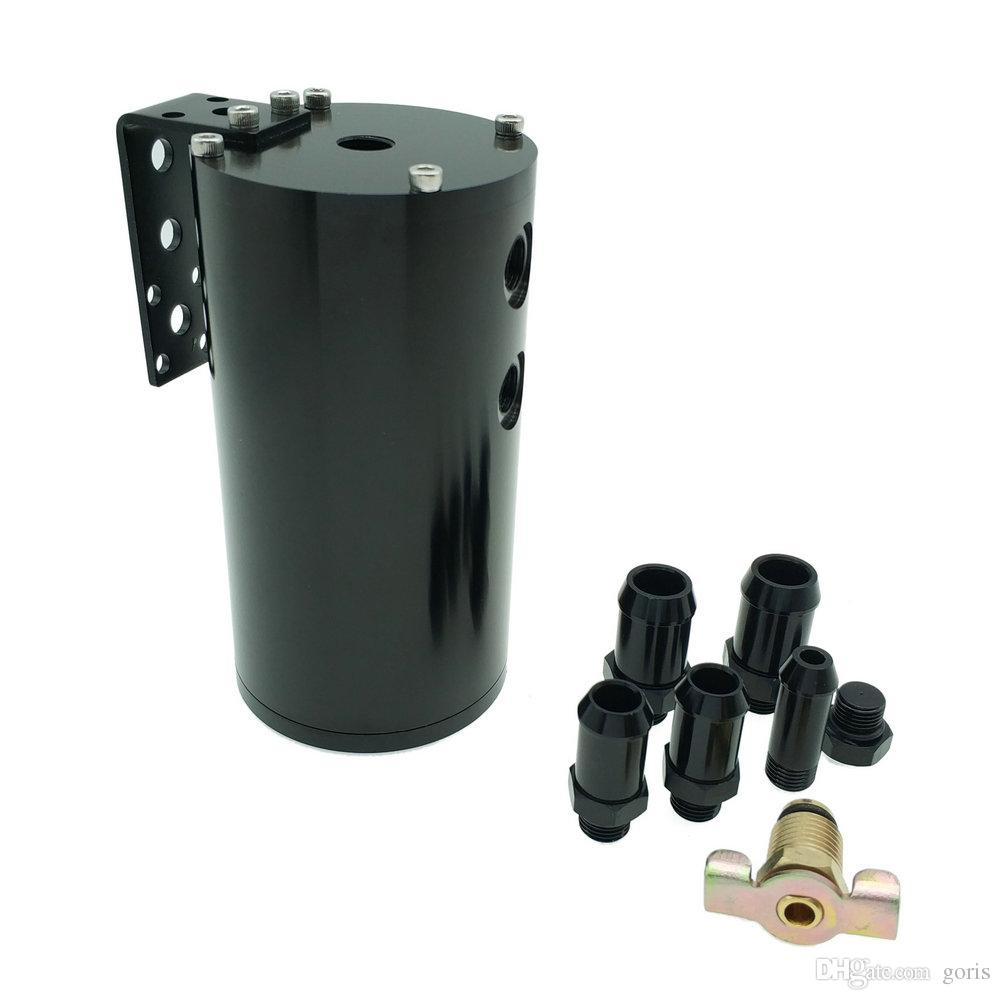New Aluminum Reservoir Tank Blue Breather Filter Baffled Engine 250ML oil catch can with filter Silver Black