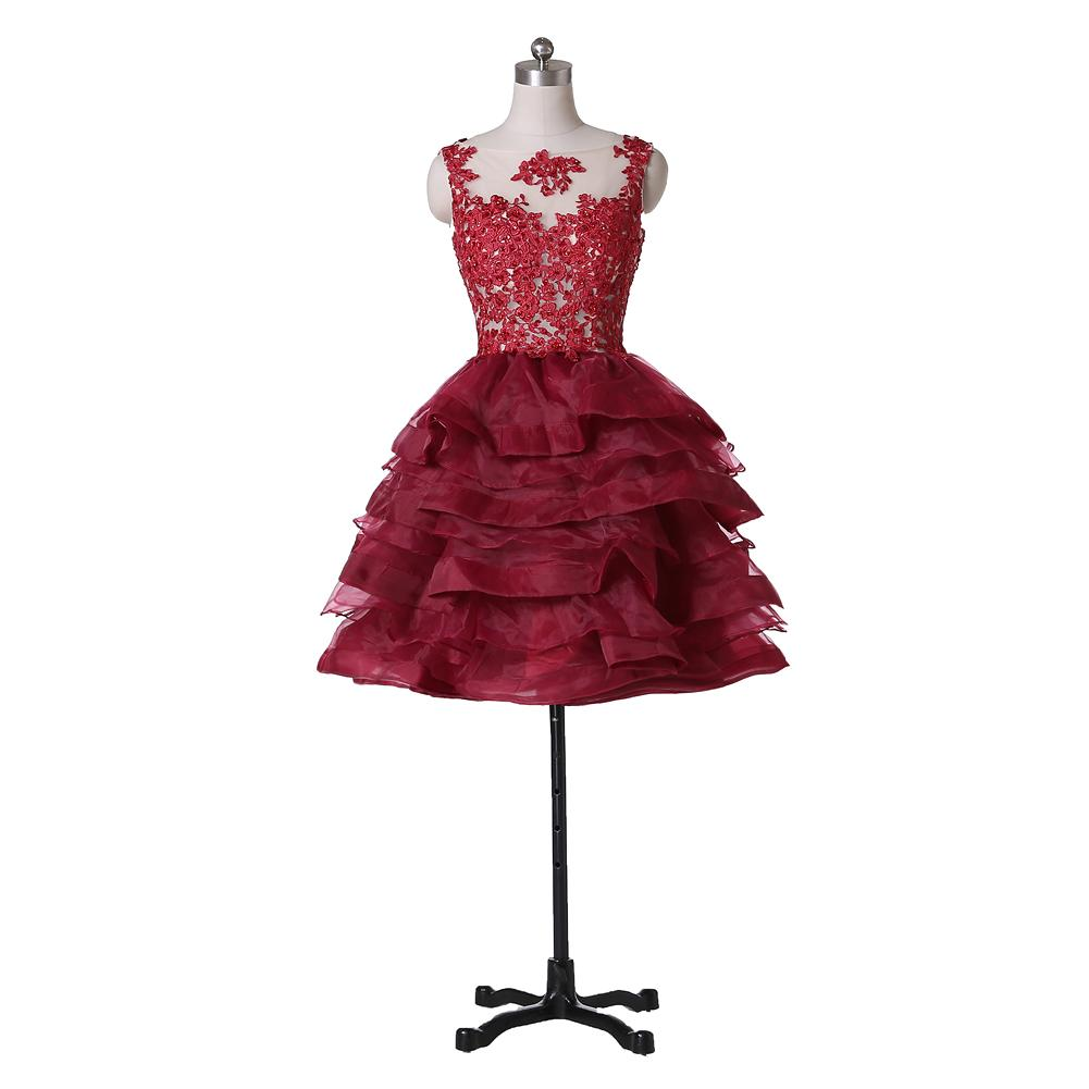 2019 Short Red Homecoming Dresses Scoop Neck Sleeveless Beaded Lace Ruffles Organza A-Line Mini Prom Gowns Zipper Back Custom Made H70