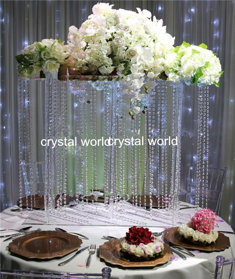 Hot Hanging Acrylice Crystal Wedding Flower Stand Centerpieces Childrens Party Boxes Childrens
