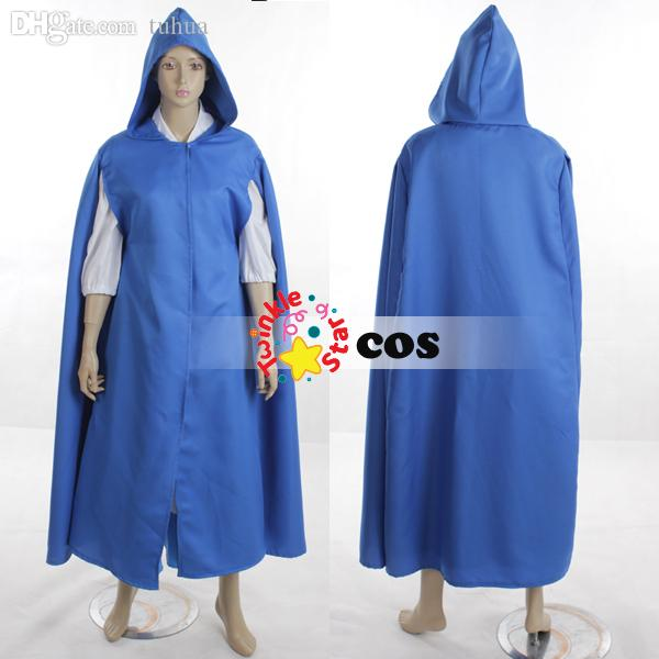 wholesale halloween costumes for women adult princess village belle beauty and the beast cosplay costumesshirtblue dresscloakapronbow male anime costume