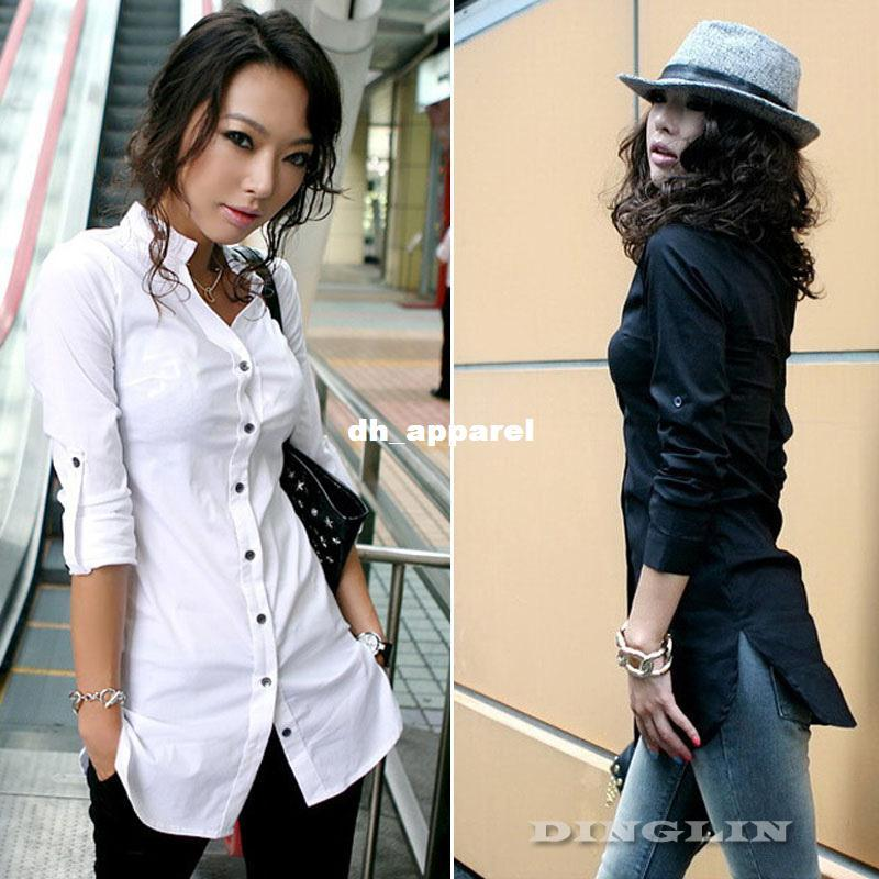 Boyfriend Shirt For Women Wear Work Long Sleeve Button Down Shirt Casual  Fitted Blouse Blusas Top Black White 0076 UK 2019 From Dh apparel 69a29e3931
