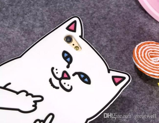 3D Cartoon Ripndip Lord Nermal Pocket Cat Silicone Rubber Case for iphone X XS 8 7 6S Plus Samsung S8 S9 Plus