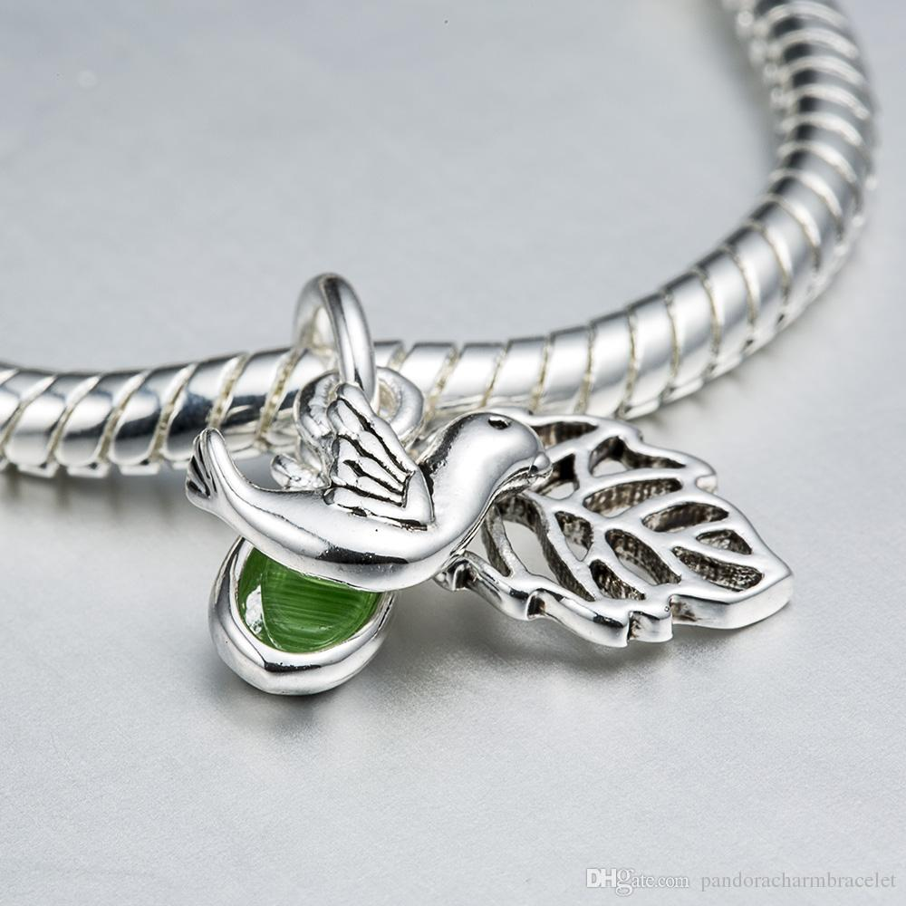 925 Sterling Silver Charm Bird & Leaves Pendant European Charms Silver Beads For Snake Chain Bracelet DIY Fashion Jewelry