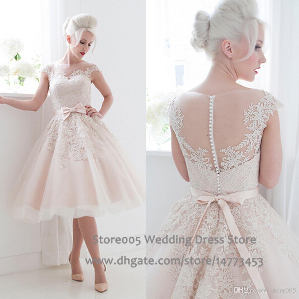 Cute Short Blush Pink Wedding Dresses 2016 Puffy Lace Bridal Dress China Sash Ball Gown Bow Vestido De Casamento W3327 Ballgowns: Cute Cheap Short Wedding Dresses At Reisefeber.org