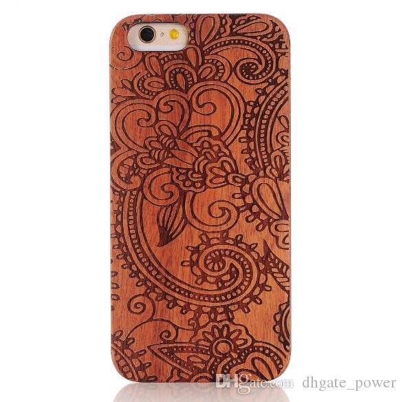 Echtholz Fall Für Iphone X 6 7 8 Hard Cover Carving Holz Telefon Shell Für Apple Iphone 7 Plus Bambus Gehäuse Luxus Retro Protector